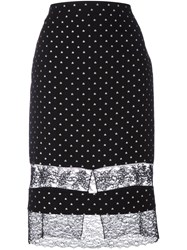 Givenchy Star Embroidered Lace Panel Skirt Black