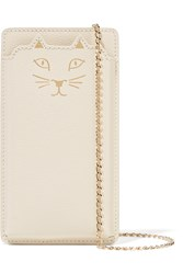 Charlotte Olympia Feline Printed Textured Leather Iphone 6 Sleeve White