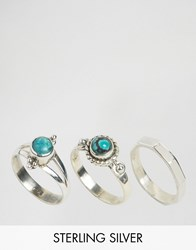 Rock N Rose Finola Turquoise Sterling Silver Ring Multipack Silver