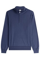 Brioni Wool Turtleneck Pullover With Zipper Blue