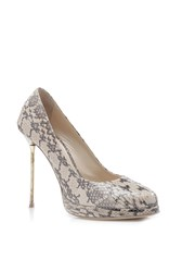 Paule Ka Snakeskin Closed Toe Pump Nude
