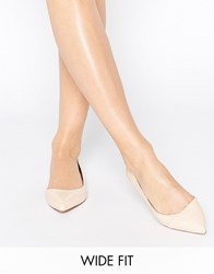 Asos Leapfrog Wide Fit Pointed Ballet Flats Nude Beige