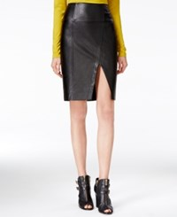 Guess Jagger Faux Leather Pencil Skirt Jet Black