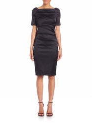 Talbot Runhof Ruched Satin Sheath Black