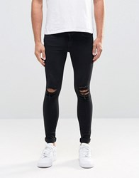 Dr. Denim Dr Dixy Extreme Super Skinny Jeans Black Ripped Knees Black Ripped