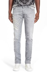 Men's Just Cavalli 'Tiger Clawed' Distressed Jeans Grey