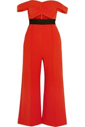Self Portrait Off The Shoulder Cutout Ponte Jumpsuit Red