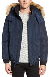 Marc New York Men's By Andrew Knox Down And Feather Bomber Jacket With Removable Faux Fur Trim Hood Navy