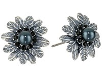 Marc Jacobs Dark Plumes Pearl Studs Earrings Jet Antique Silver Earring