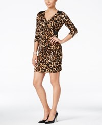 Thalia Sodi Printed Faux Wrap Bodycon Dress Only At Macy's Leopard