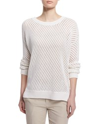 Vince Mesh Stitched Long Sleeve Pullover Sweater Women's Size Xs Optic White
