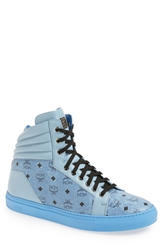 Mcm Leather And Coated Canvas Sneaker Men Denim Blue