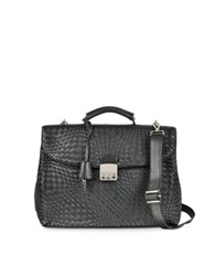 Forzieri Black Woven Leather Business Bag W Shoulder Strap