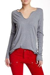 Zadig And Voltaire Long Sleeve V Neck Blouse Gray
