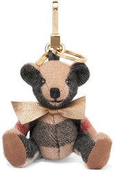 Burberry London London Checked Cashmere And Shell Keychain Beige