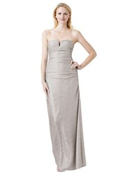 Hailey Logan Metallic Strapless Gown Champagne