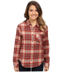 Pendleton Petite Frankie Flannel Shirt Rosewood Heather Plaid Women's Long Sleeve Pullover Brown