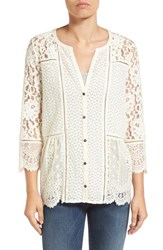 Lucky Brand Women's Mix Lace Modal Top