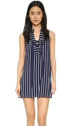 J.O.A. Stripe Lace Up Dress Navy