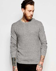 Asos Cable Knit Sweater In Gray Cotton Gray Twist