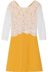 Sandro Reality Crepe And Embroidered Lace Mini Dress Yellow