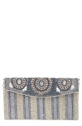 Big Buddha Beaded Stripe Flap Clutch
