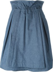 Jil Sander Navy A Line Wrap Skirt Blue