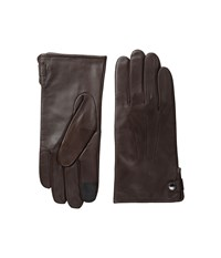Cole Haan Side Snap Leather Gloves With Center Points And Tech Brown Extreme Cold Weather Gloves