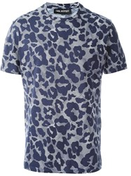 Neil Barrett Leopard Pattern Print T Shirt Blue
