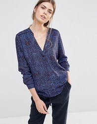 See U Soon Shirt With V Neck In Leaf Print Blue
