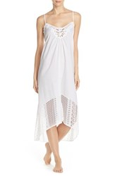 Women's In Bloom By Jonquil Lace Trim Cotton Nightgown