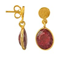 Juvi Antibes Drop Earrings With Ruby Red