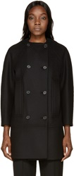 Proenza Schouler Black Double Breasted Collarless Coat