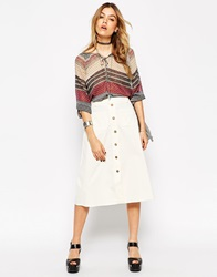 Asos Reclaimed Vintage Button Through Midi Skirt In Baby Cord Cream