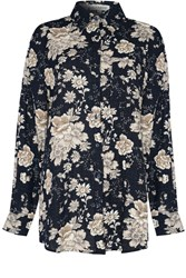 Alice And You Oversized Printed Shirt Navy