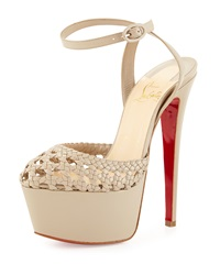 Woven Leather Platform Red Sole Sandal Taupe Christian Louboutin