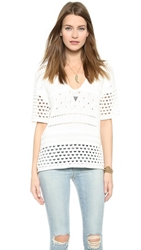 Twelfth St. By Cynthia Vincent Deep V Crochet Pullover Ivory