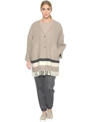 Marina Rinaldi Fringed Felted Wool Knit Cardigan