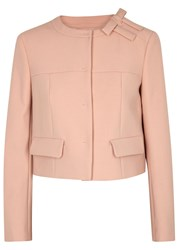 Red Valentino Blush Bow Embellished Crepe Jacket Light Pink