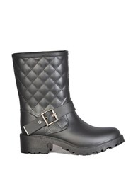 Dav Quilted Moto Boots Black