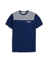 Buffalo David Bitton Boy's Striped Yoke Cotton Tee Ink Light Grey
