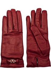 Valentino Leather Gloves Red