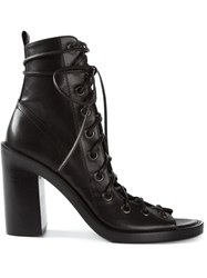 Ann Demeulemeester Open Front Lace Up Boots Black