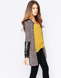 Wal G Cardigan With Zip Detail Brown