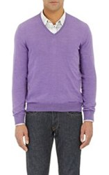 Barneys New York V Neck Sweater Purple