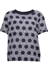 Mother Of Pearl Nell Printed Silk And Cotton Top Storm Blue