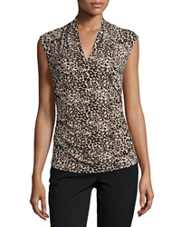 Vince Camuto Leopard Print V Neck Sleeveless Blouse Rich Black