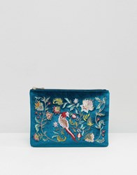 Glamorous Velvet Zip Top Clutch With Embroidery In Teal Teal Multi