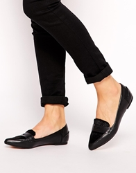 Bronx Black Leather Point Flat Shoes