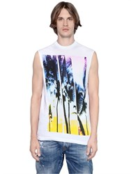 Dsquared2 Twisted Cotton Jersey Sleeveless T Shirt